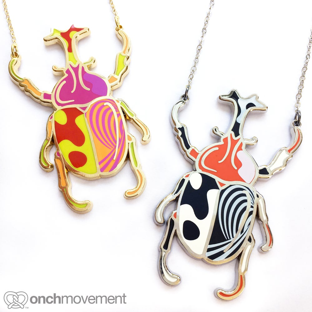Image of Psychedelic Unicorn Beetle Necklace