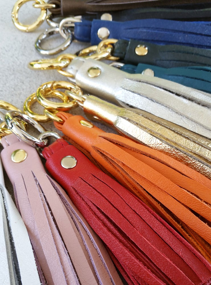 Image of Genuine Leather Tassel - Handbag Charm - 3 Sizes - Gold & Nickel Finishes - 25 Leather Colors