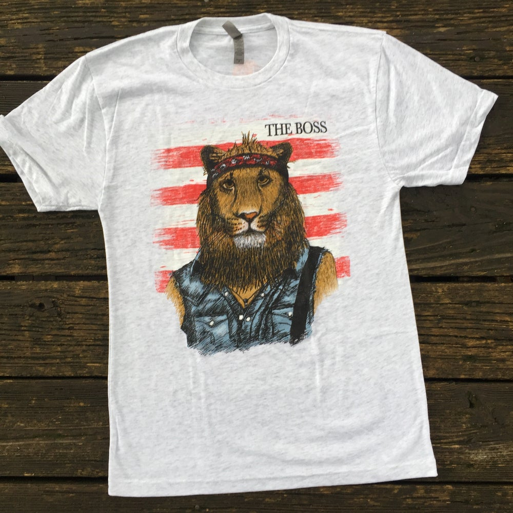 Image of Adult The Boss Lion Crew Neck Short Sleeve Tees