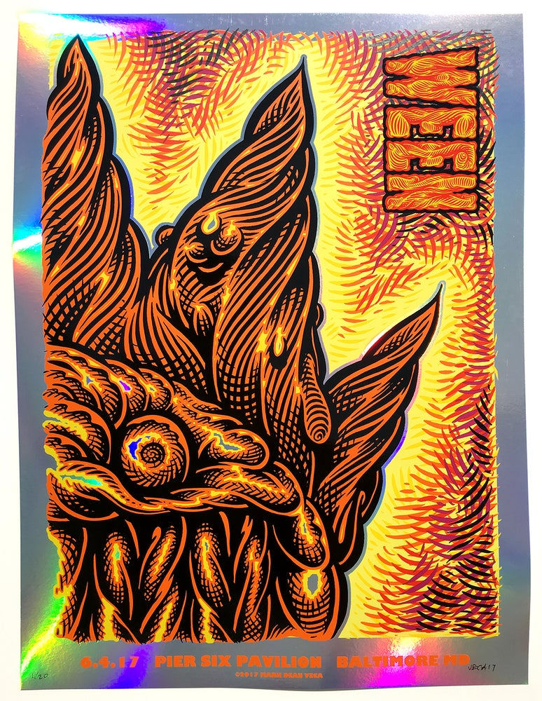 Image of  WEEN Tour Poster, Baltimore 2017 (Rainbow Foil Variant)