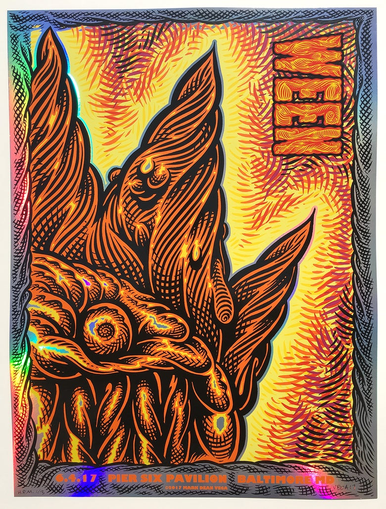 Image of  WEEN Tour Poster, Baltimore 2017 (Rainbow Foil Variant, Hand-Embellished)