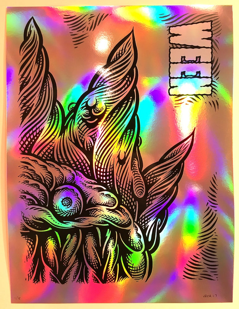 Image of  WEEN Tour Poster, Baltimore 2017 (Variant: Black-Plate on Rainbow Foil)
