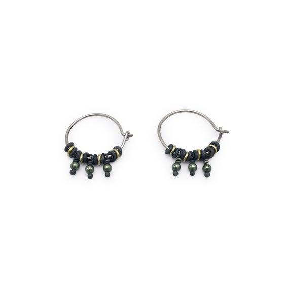 Image of jump-ring & bead hoop earrings (E35silgf)