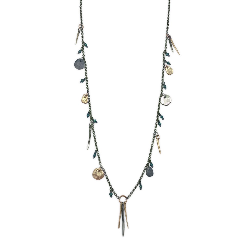 Image of spike & rock necklace w/ beads (P131silbra2228)