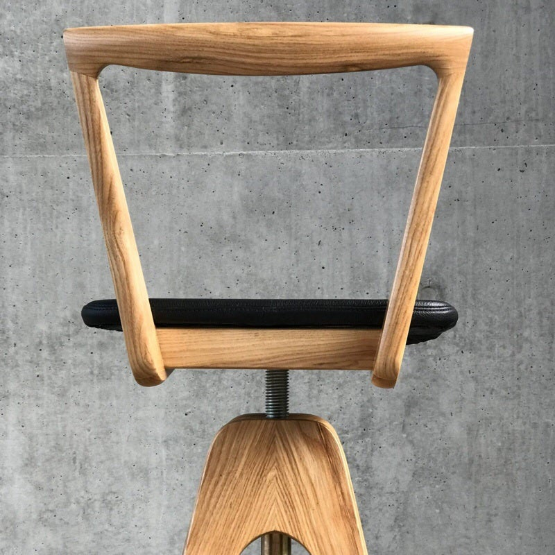 Image of The icon returns ~ TH Brown Danish Swivel Stool ~ Light ash