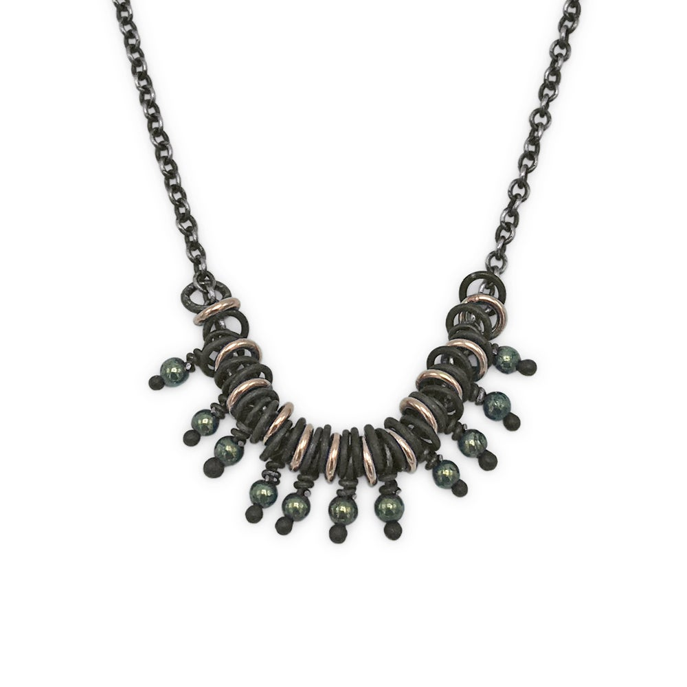 Image of bead & jump-ring large necklace (P133SILGFB1620)