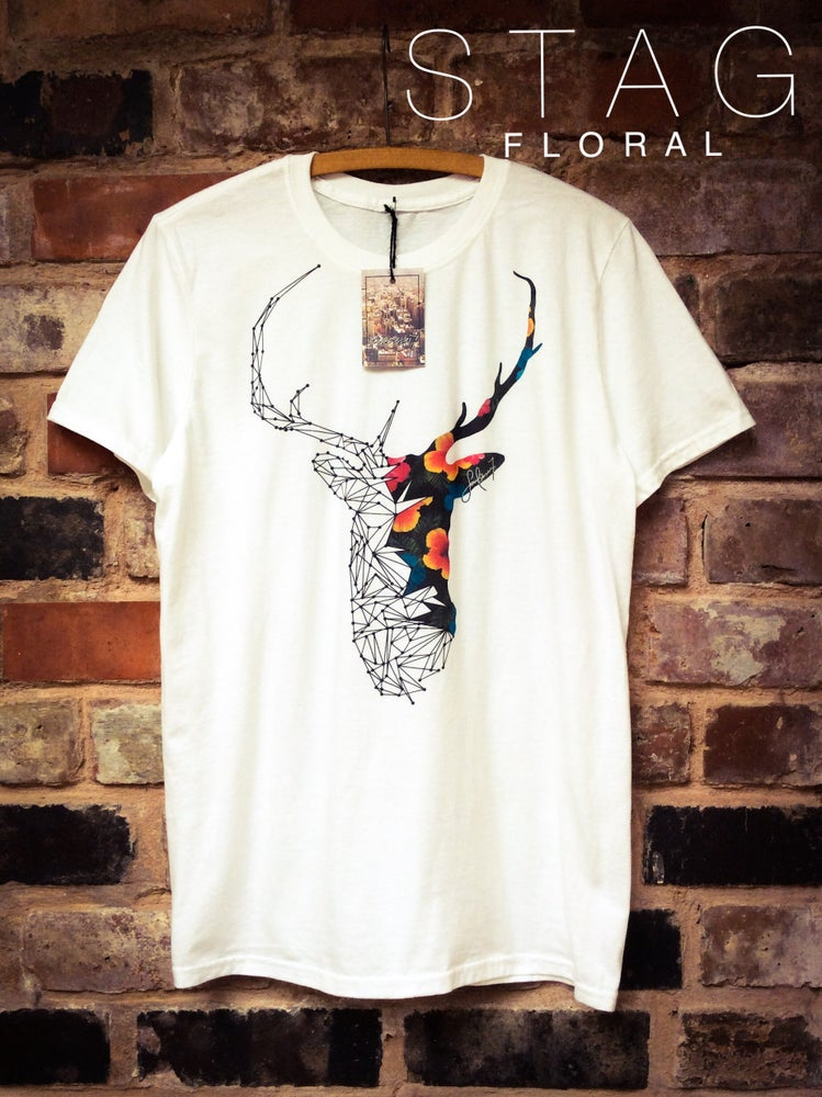 Image of STAG FLORAL  /  WHITE T