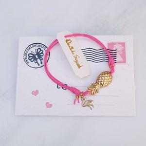 Image of Pineapple and flamingo bracelet,pink friendship bracelet,tropicana jewellery,beach bracelet