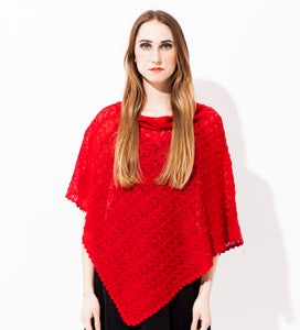 Image of Laceknitted Poncho                                   Red