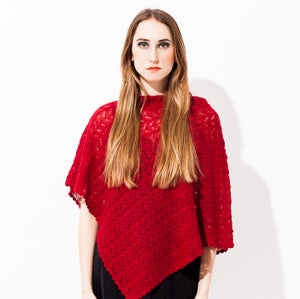 Image of Laceknitted poncho    Darkred