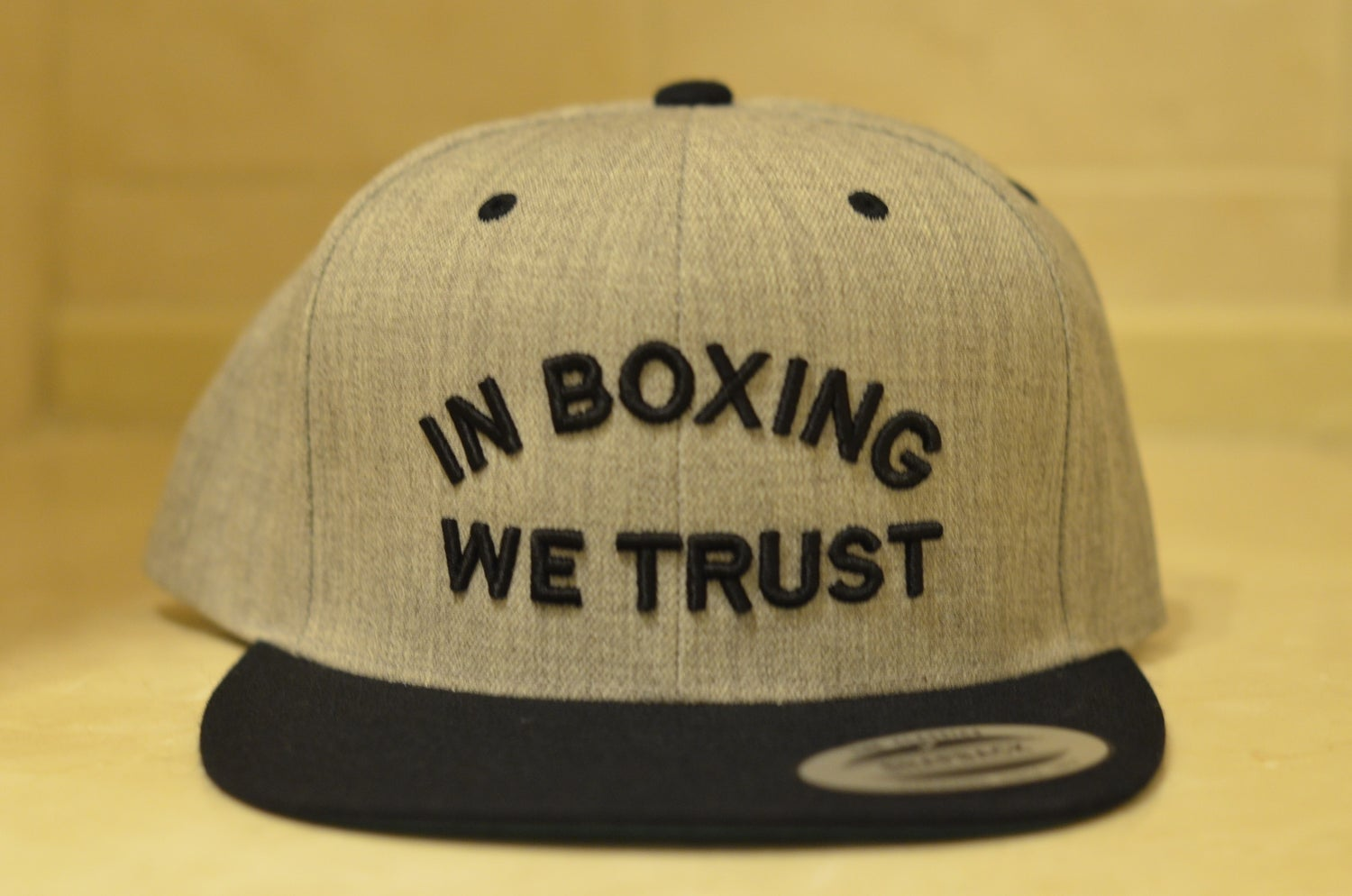 Image of 2 Tone Gray / Black In Boxing we Trust SnapBacks