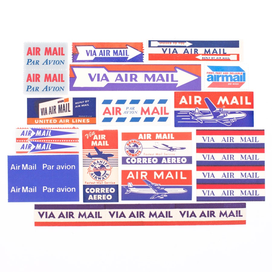 Image of Vintage Airmail Labels - Set of 15