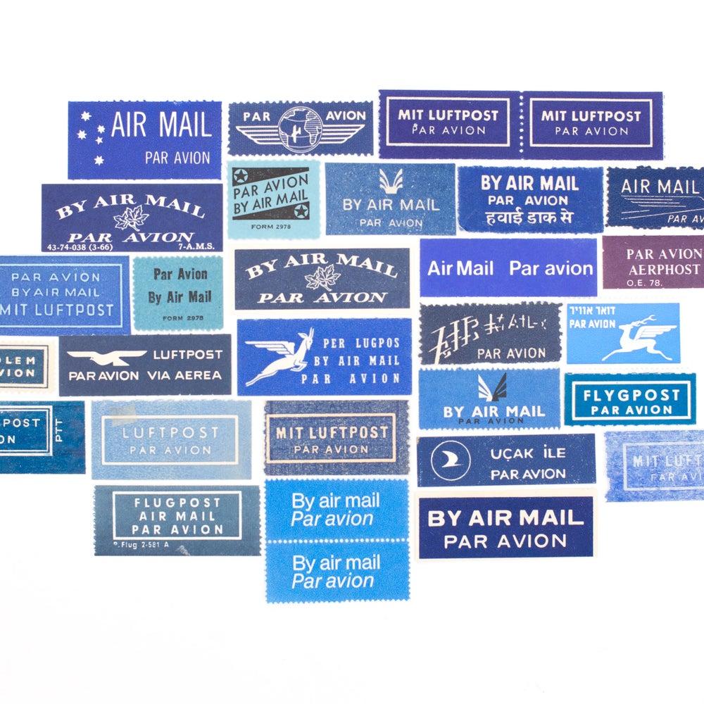 Image of Vintage Blue Airmail Labels - Set of 28