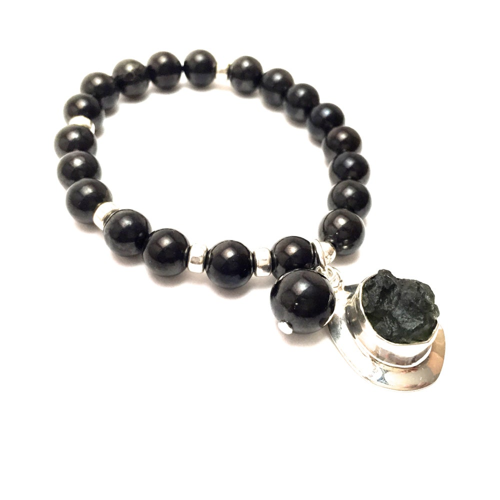 Image of New! Moldavite Expansion Wrist Mala
