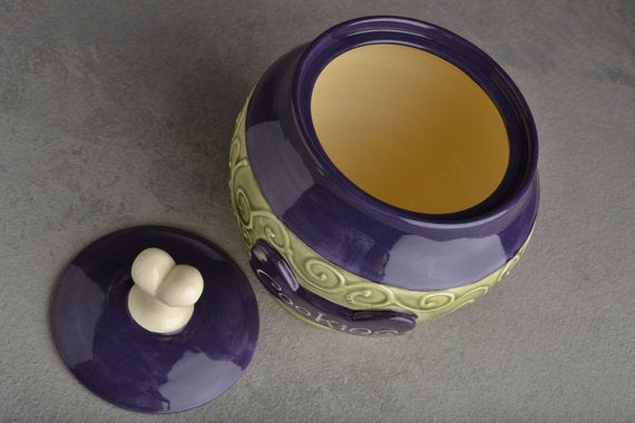 """Image of Dog Treat Jar Green and Purple """"Biscuits"""""""