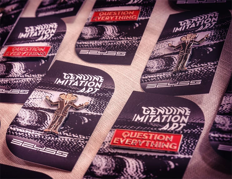 Image of Question Everything   3 Headed Business Man Enamel Pin Set