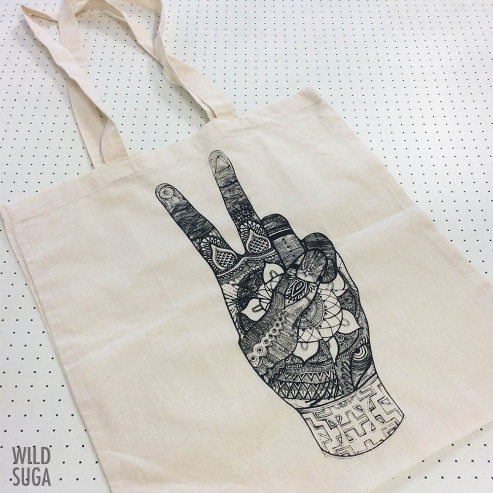 Image of Peace Hand Recycle Tote bag