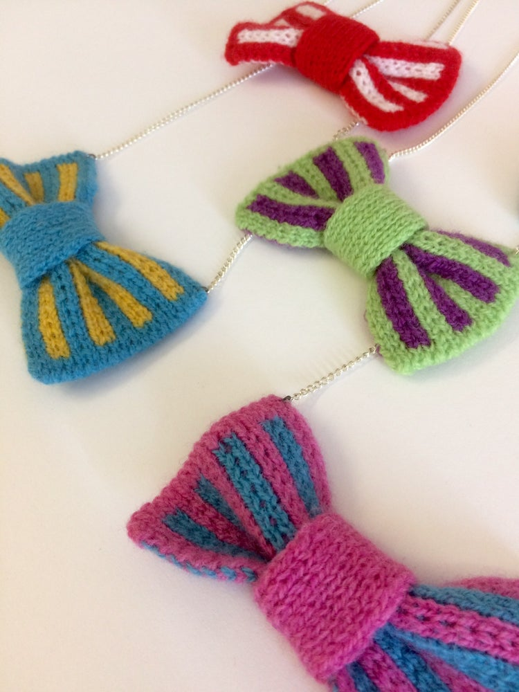 Image of Knitted Bow Necklace