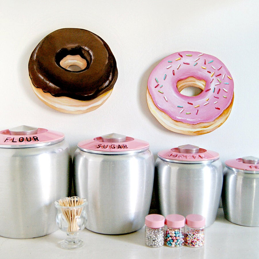 Image of Jumbo Donut wall plaques, your choice - Pink with sprinkles or Chocolate glazed