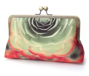 Succulent clutch purse, silk bag, aeonium cacti, green red  - Red Ruby Rose