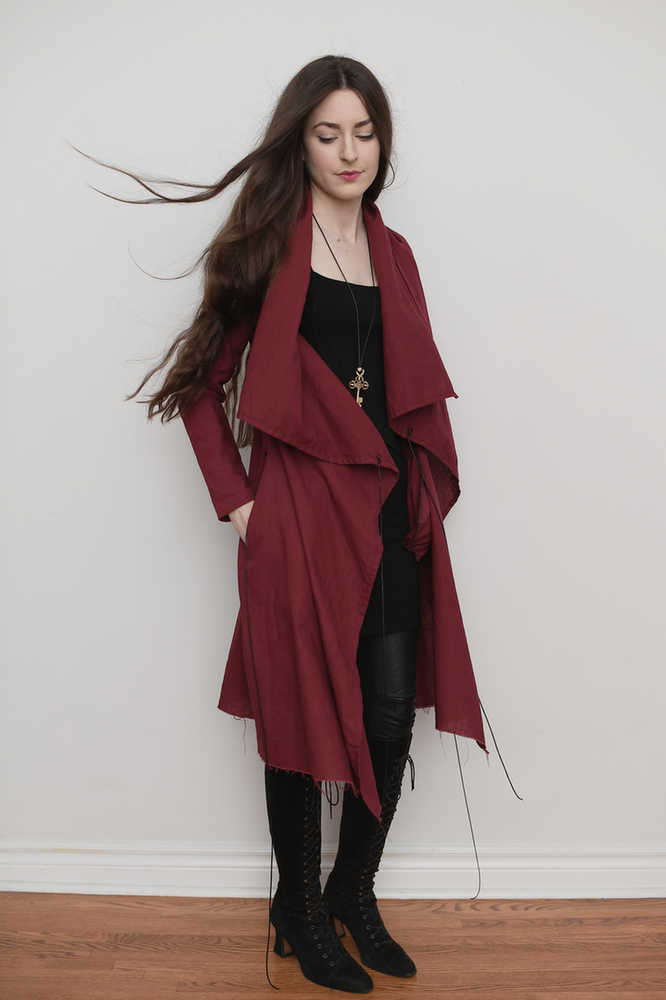 Image of Long Linen Jacket in Sanguine Red