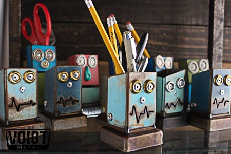 Image of Desk organizer/Small: Pencil Pusher Robot Silver