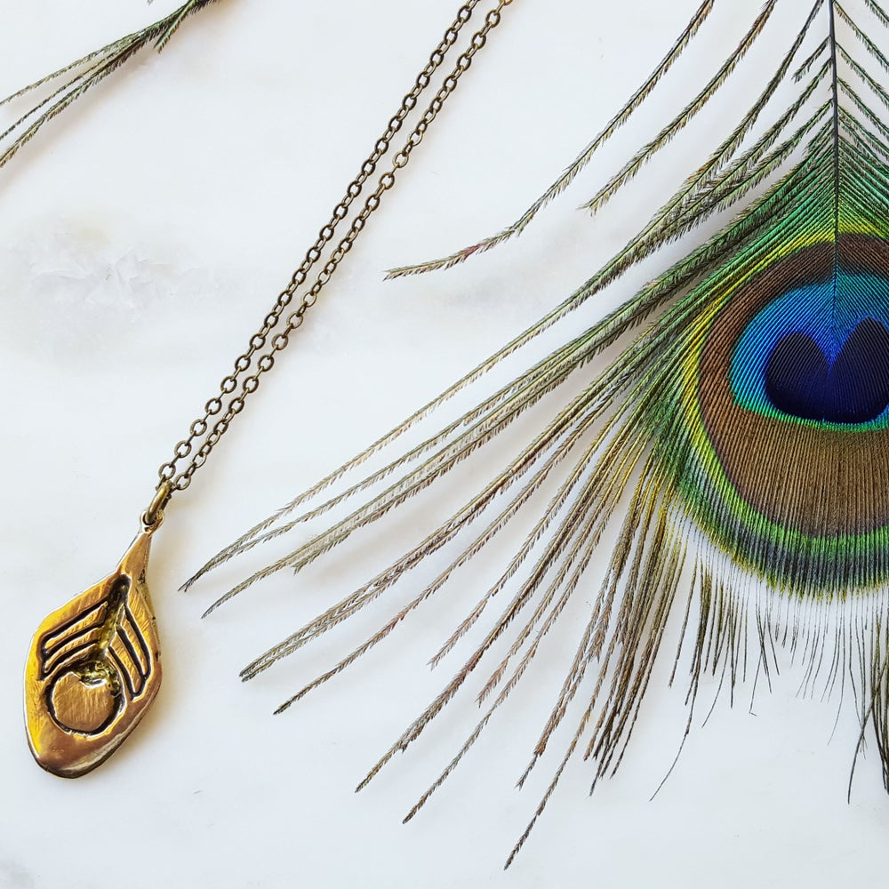 Image of Deco Peacock Feather Necklace