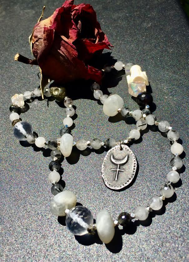 Image of Mary Magdalene Holy Grail Rutilated Quartz, Angel Aura,, Moonstone, Garnet and Snake Vertebrae