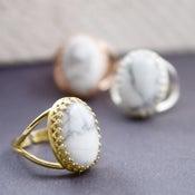 Image of Marbleised - White Howlite Marble Gemstone Cocktail Ring