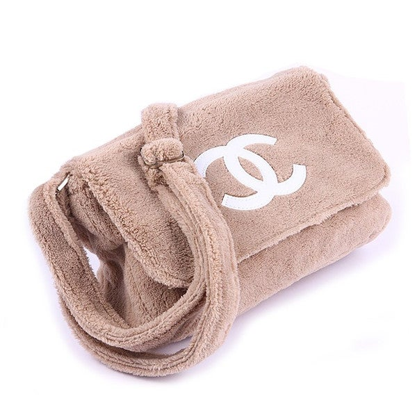 Image of Chanel Beaute Bag - Chanel Precision VIP Beauty Counter Gift Beige Plush Shoulder Bag