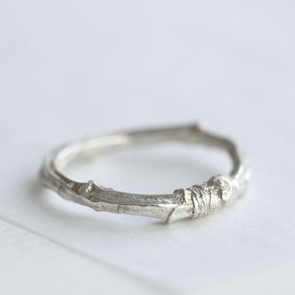 Image of silver twig ring/twig wedding ring/cherry tree twig ring