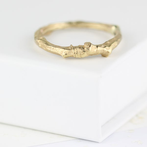 Image of Twig ring in gold, twig wedding ring, nature jewellery