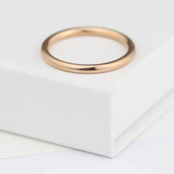Image of Rose gold ring, beautifully simple rose gold wedding ring, 2mm wide wedding ring