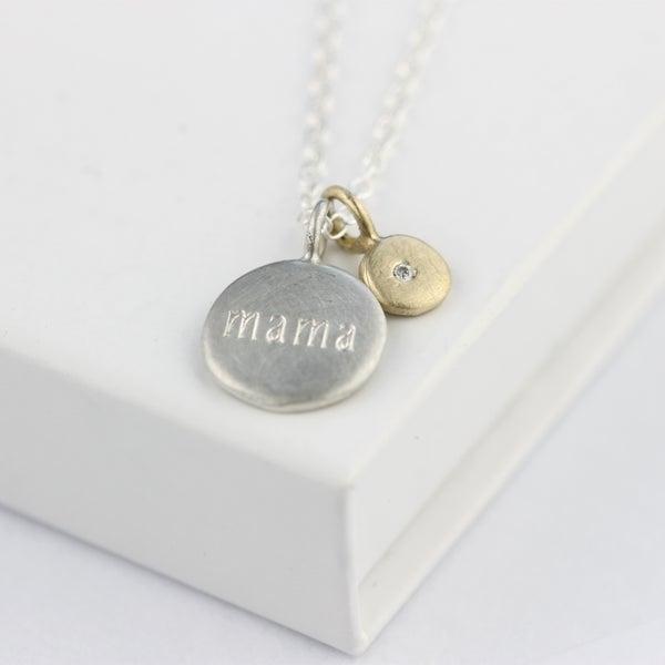 Image of mama diamond necklace, personalised diamond necklace