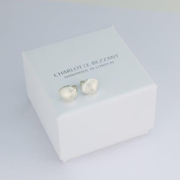 Image of silver shell earrings, cockle shell stud earrings