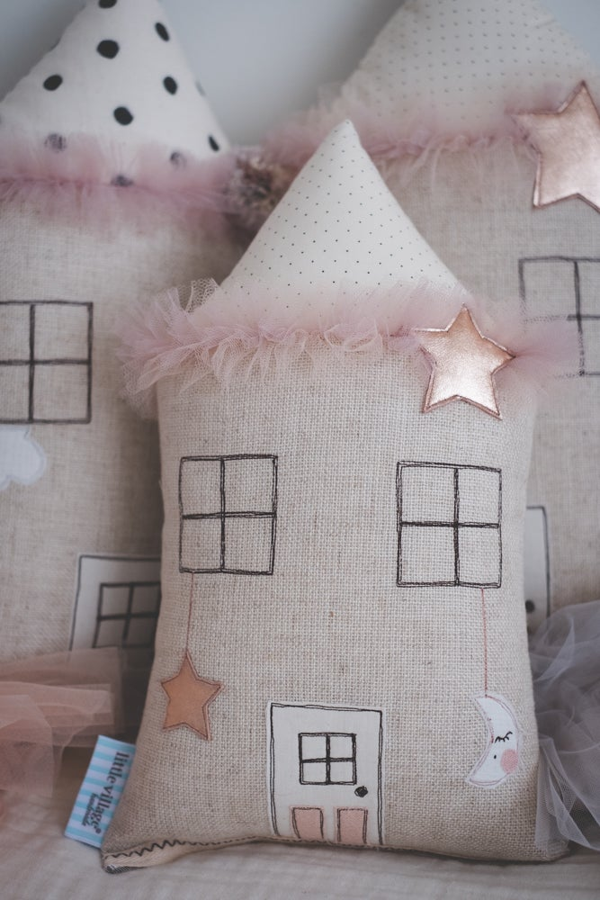 Image of Petite house cushion - dusty pink and copper