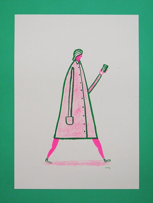 Image of 'Hey I'm Walking here!' - Sandra - A3 Risograph print
