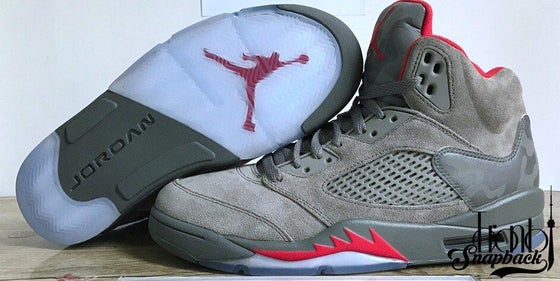 Image of Air Jordan 5 Olive Suede Camo