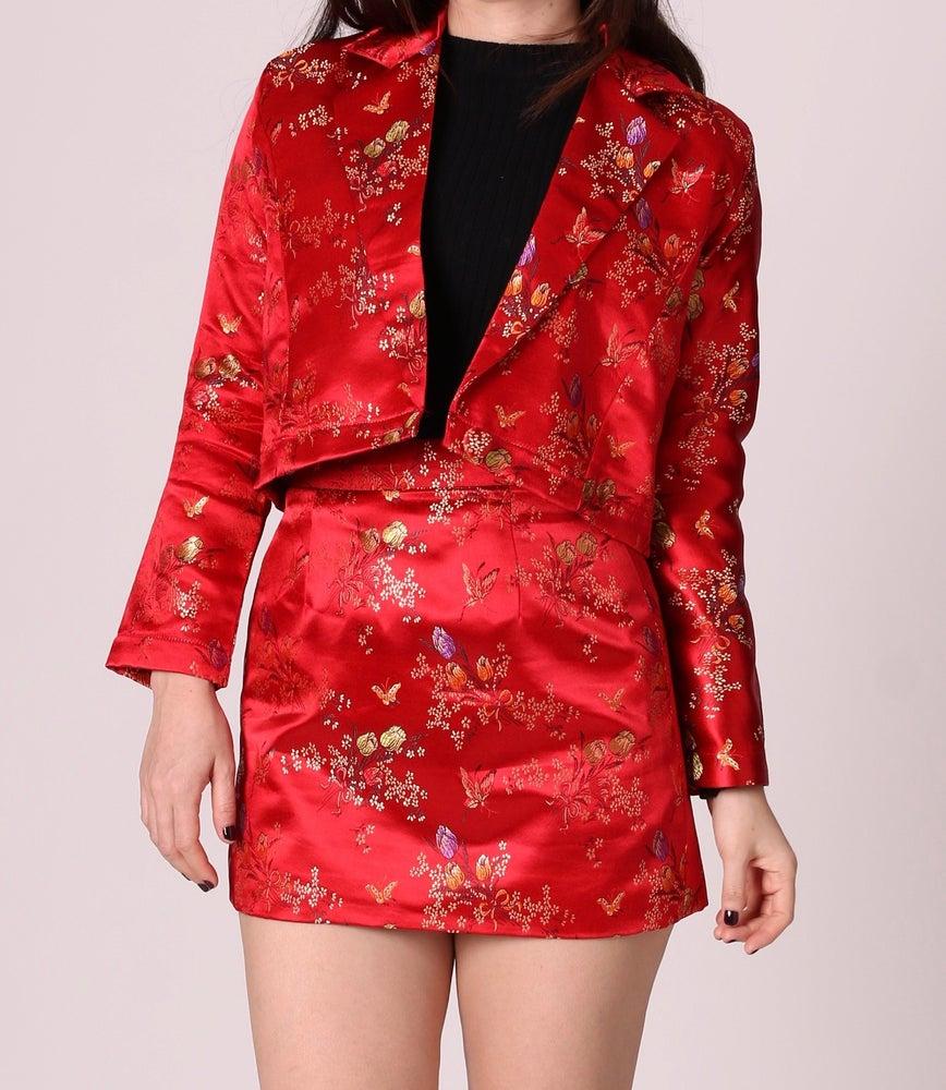 Image of Fran Blazer Set in Red Floral Silk