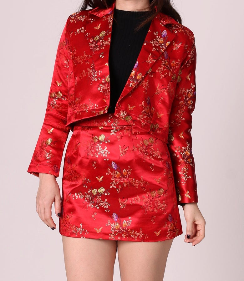 Image of Fran Blazer Set in Red Floral Silk