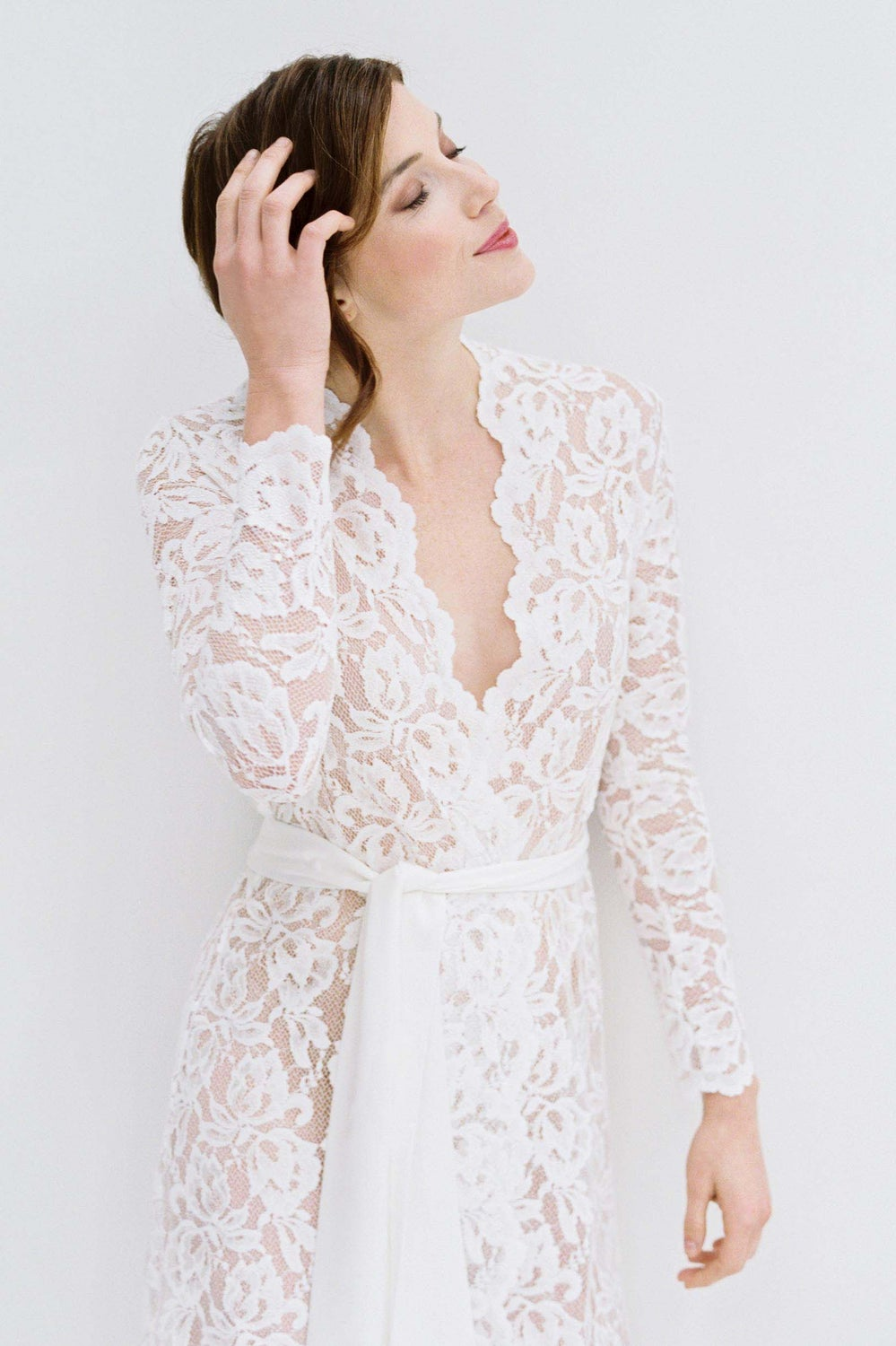 Image of Lauren Stretch French Lace Robe in ivory