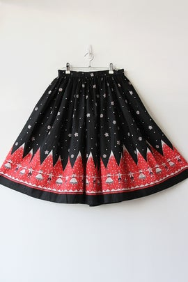 Image of SOLD Hills Are Alive Novelty Print Border Cotton Day Skirt
