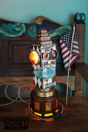 Image of Light Transmission Recycled Metal Checker Robot Lamp/Dimond