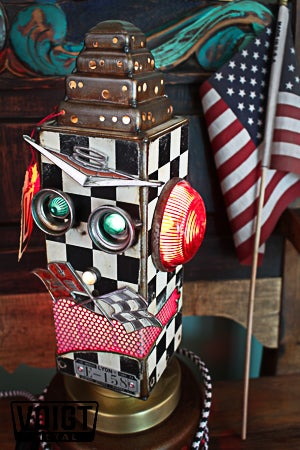 Image of Light Transmission Recycled Metal Checker Robot Lamp/Checkered Red