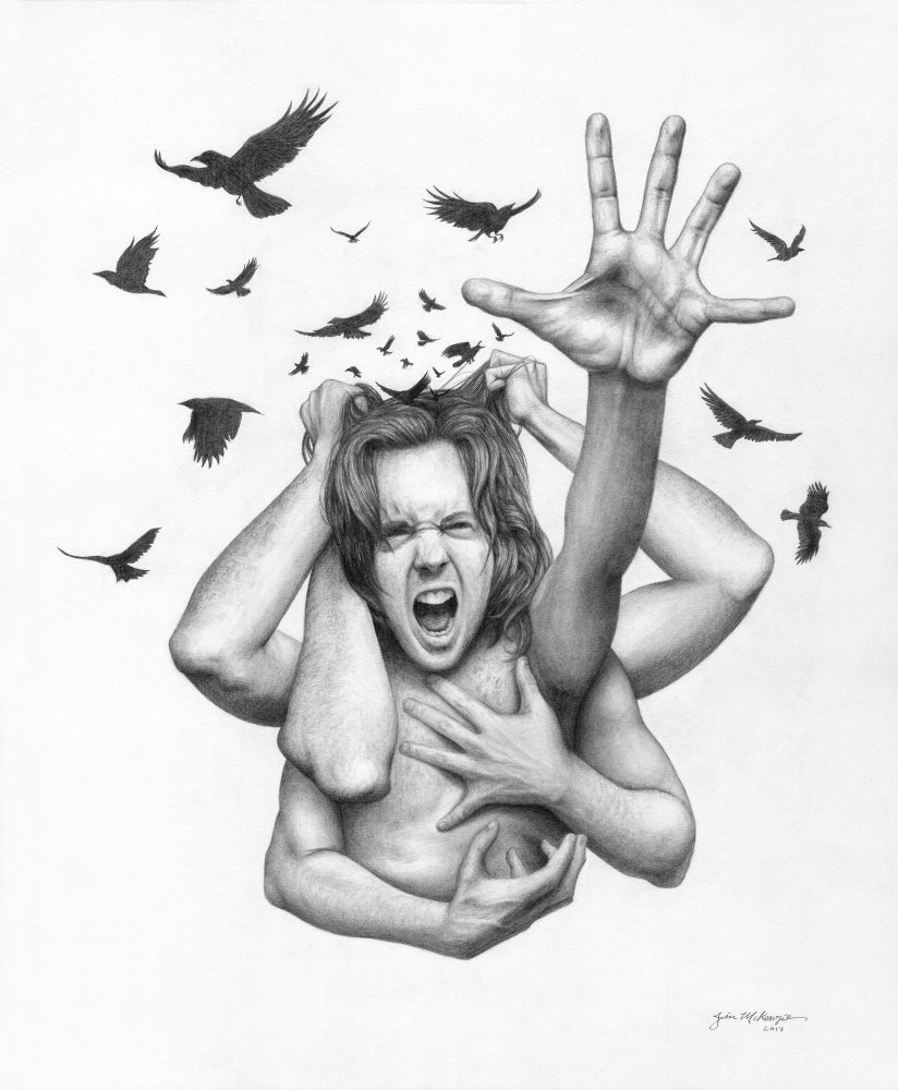 """Image of """"Noise"""" Original Drawing - Graphite on paper - Framed 18""""x21"""""""