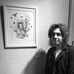 "Image of ""Noise"" Original Drawing - Graphite on paper - Framed 18""x21"""