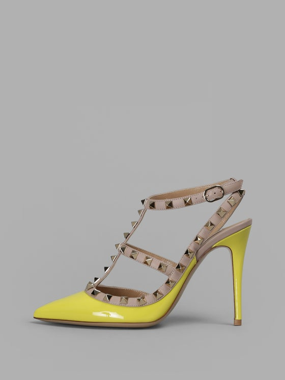 Image of Valentino Rockstud Yellow Patent Nude T Strap Point Heel Pump