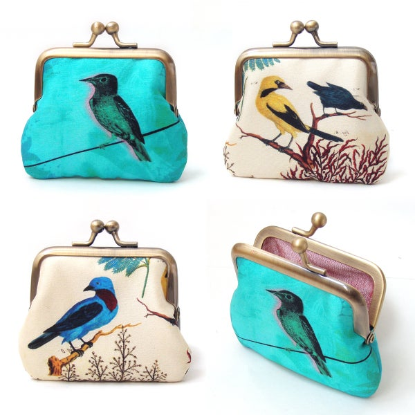 Bird on a wire coin purse, silk pouch - Red Ruby Rose