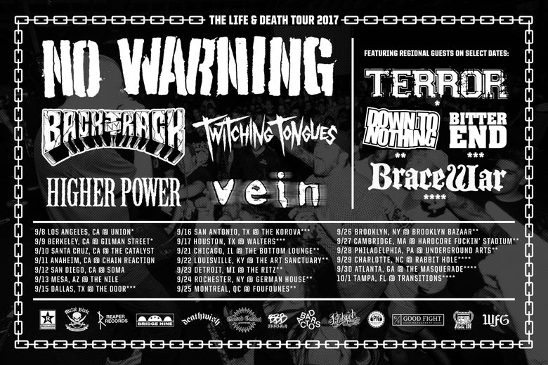 Image of 9/23 - No Warning, Down To Nothing, Twitching Tongues, Backtrack, Higher Power, Vein