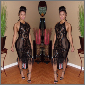 "Image of ""Black Sapphire"" Halter Top Dress"